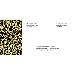 Faire-part de mariage Mauresque noir jaune gratuit