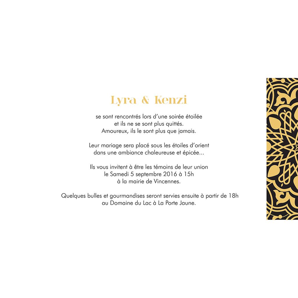 Faire-part de mariage Mauresque noir jaune