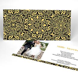 Carte de remerciement mariage Mauresque noir jaune