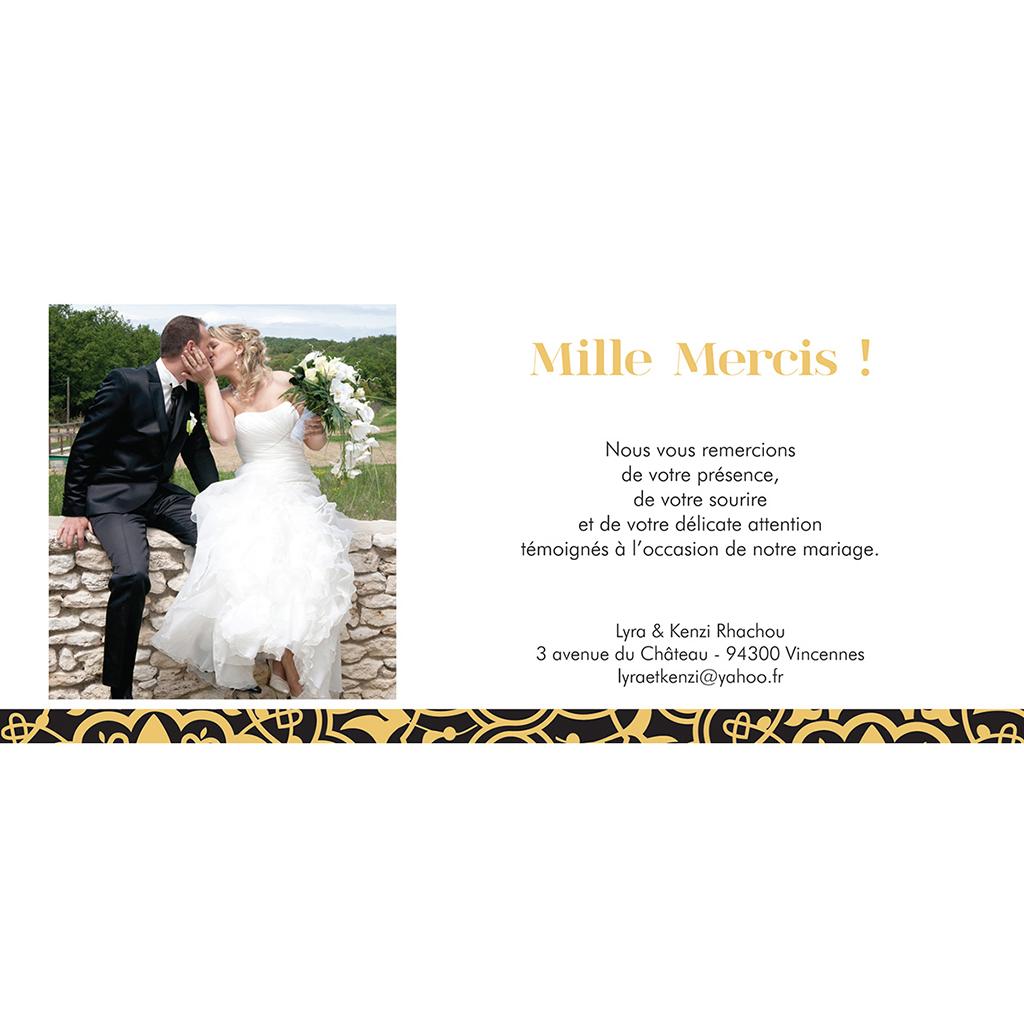 Carte de remerciement mariage Mauresque noir jaune gratuit