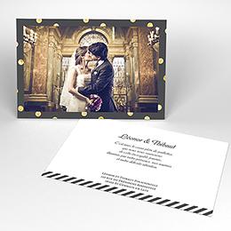 Carte de remerciement mariage Un jour d'amour noir or