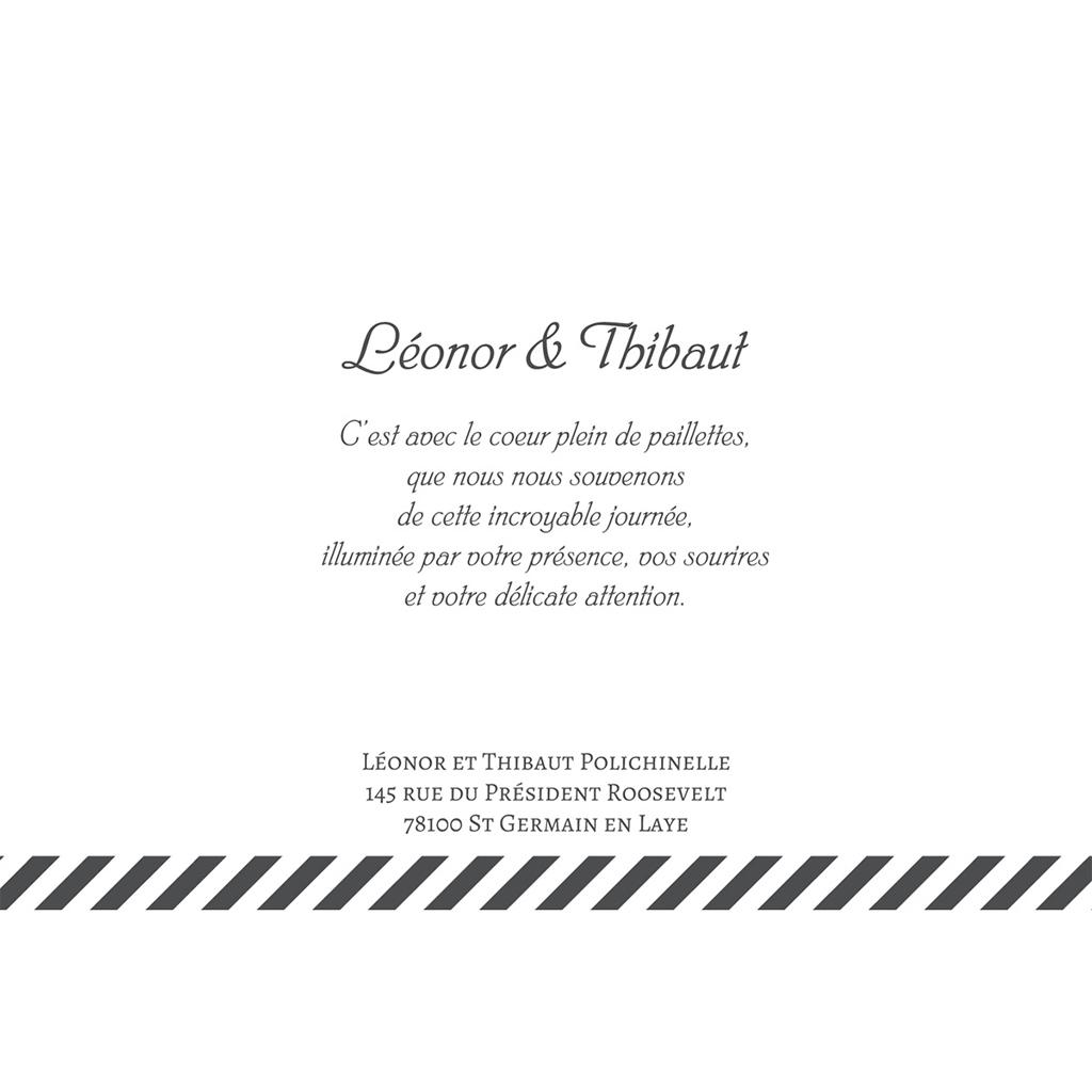 Carte de remerciement mariage Un jour d'amour noir or gratuit