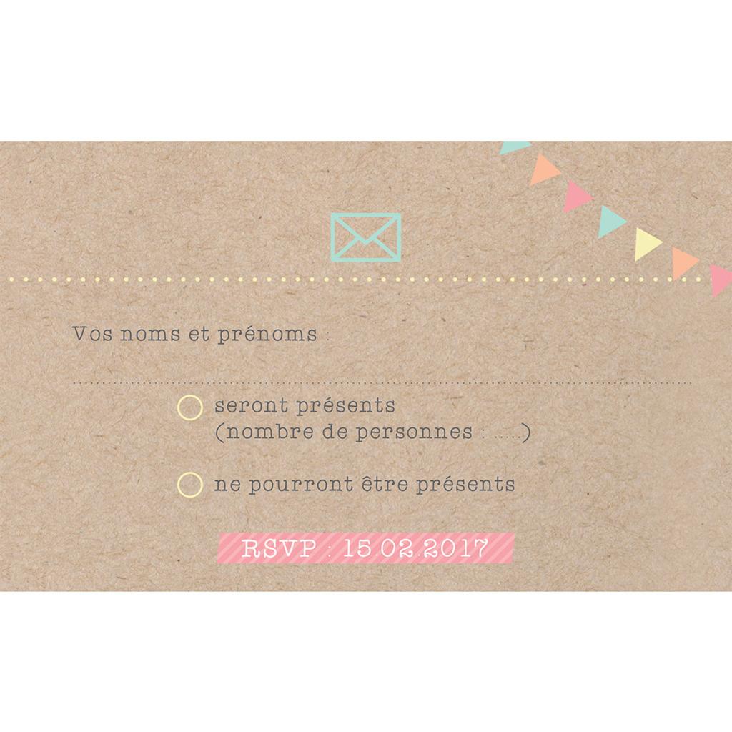 Carton réponse mariage Pretty love story  pas cher