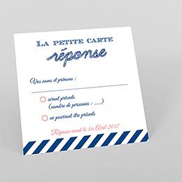 Carton réponse mariage Navy Corail
