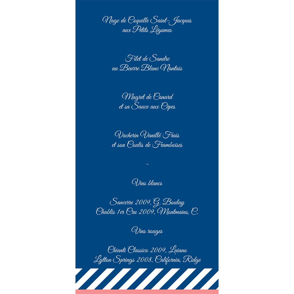 Menu mariage Navy Corail  gratuit