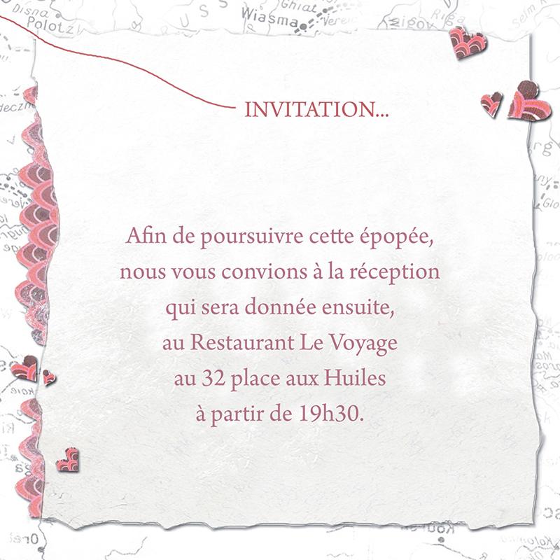 Carte d'invitation mariage Voyage d'amour  pas cher