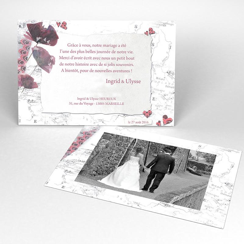 Carte de remerciement mariage Voyage d'amour