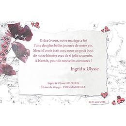 Carte de remerciement mariage Voyage d'amour  pas cher