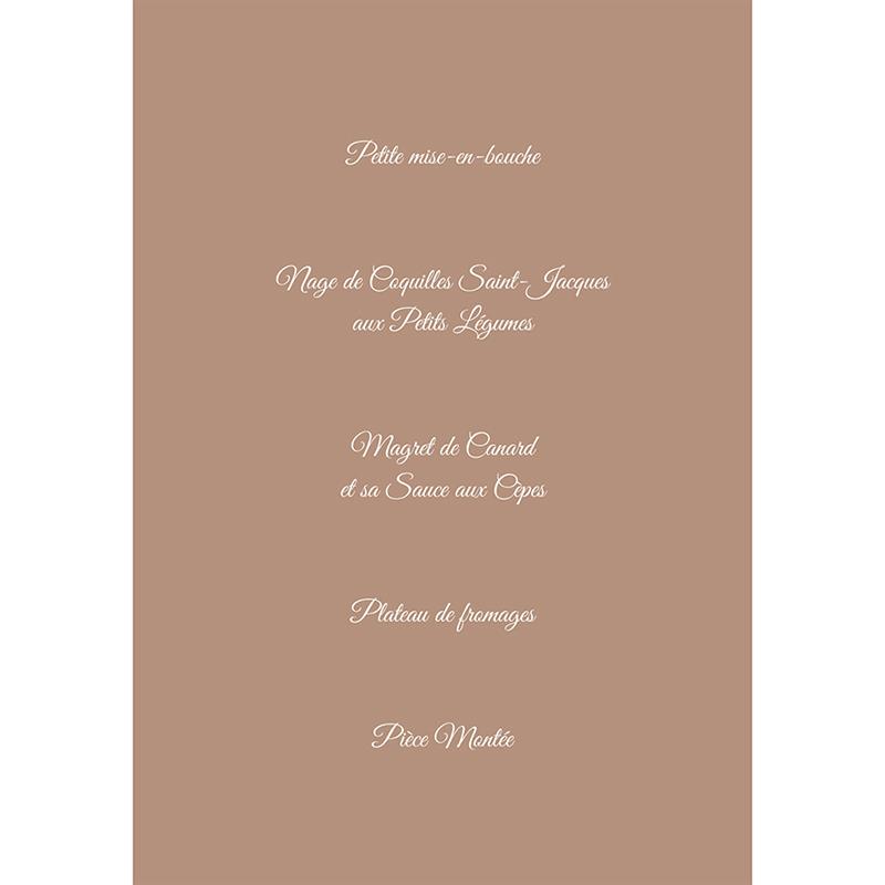 Menu mariage Ulysse et Pénélope