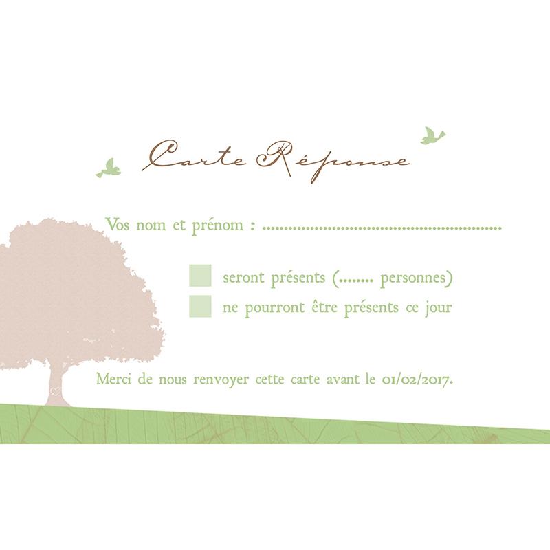 Carton réponse mariage Nature  pas cher
