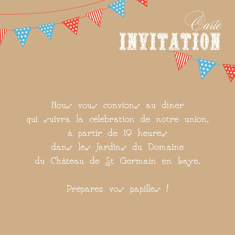 Carte d'invitation mariage Christian et Satine  pas cher