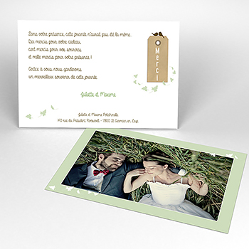 Carte de remerciement mariage Adam et Eve
