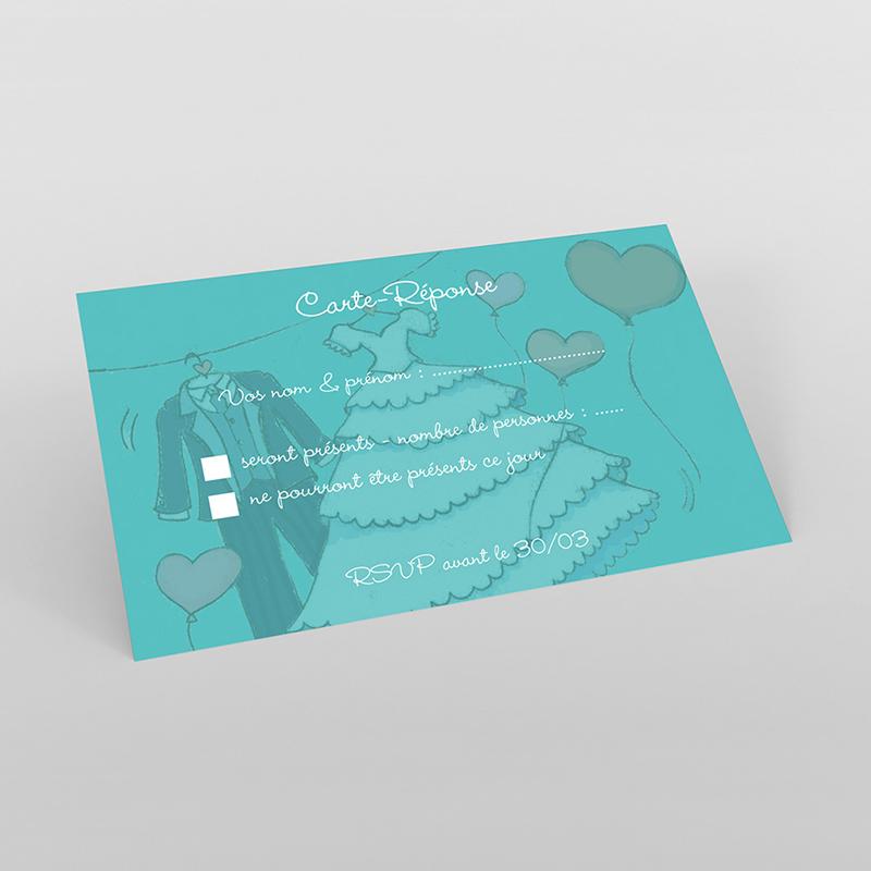 Carton réponse mariage Union bleu