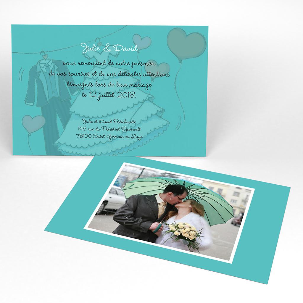 Carte de remerciement mariage Union bleu