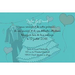 Carte de remerciement mariage Union bleu pas cher