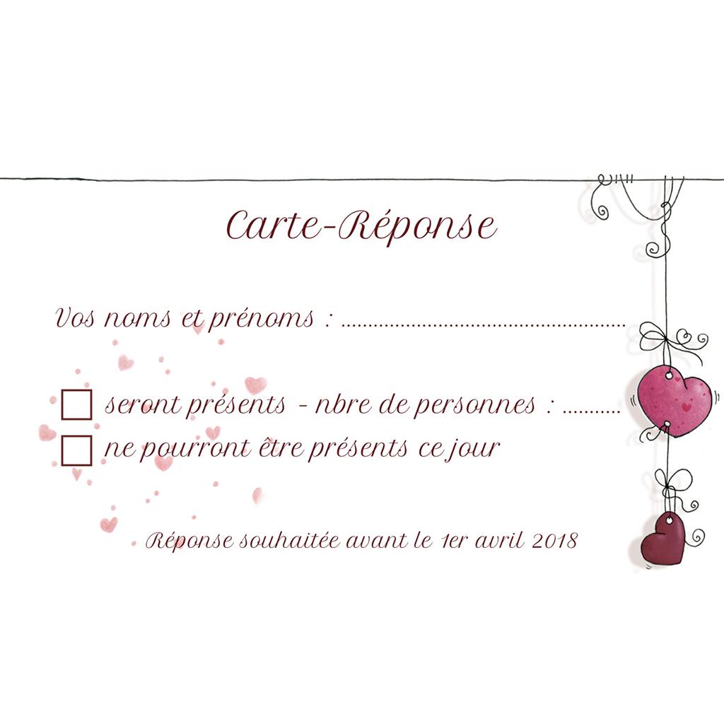 Carton réponse mariage Les Coeurs  pas cher