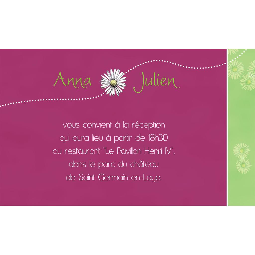 Carte d'invitation mariage A la folie  pas cher