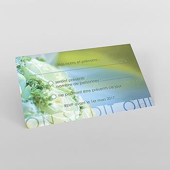 Carton réponse mariage Florilège vert
