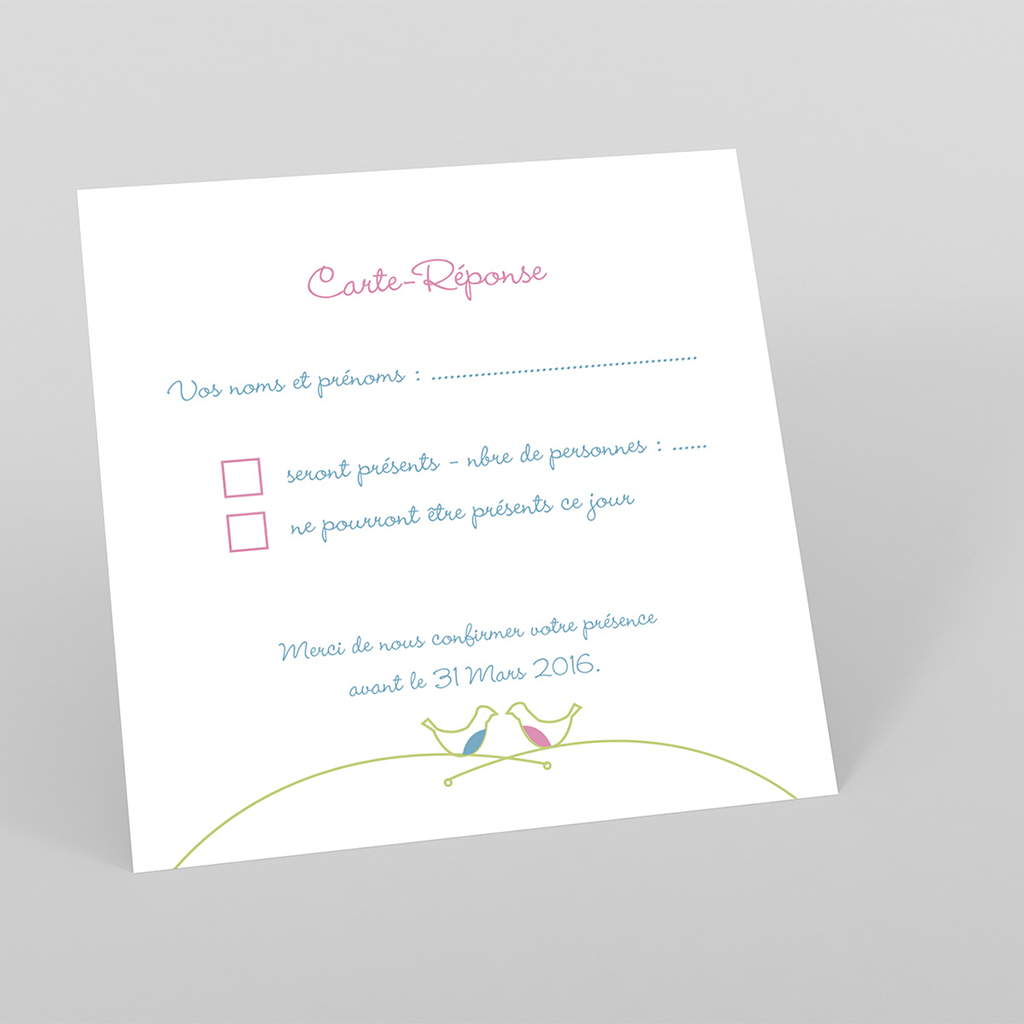 Carton réponse mariage Idylle blanc