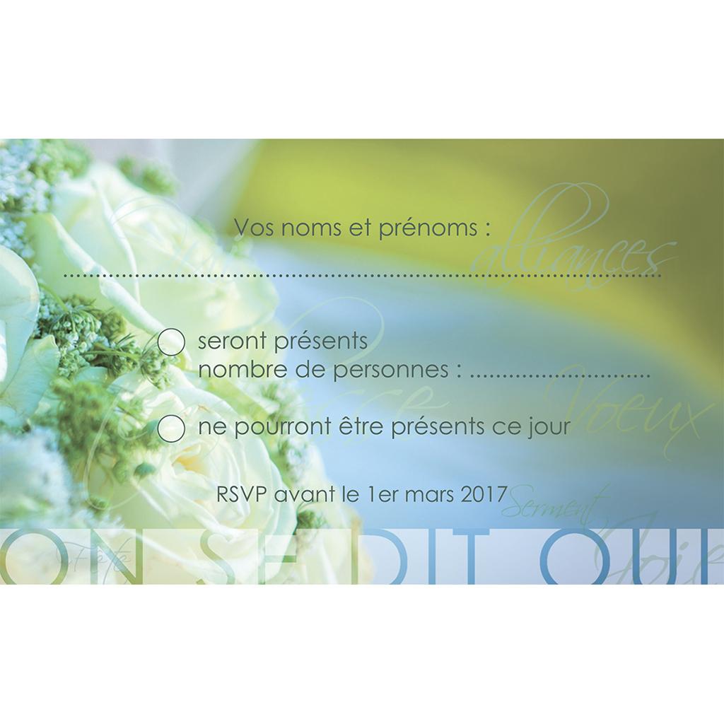 Carton réponse mariage Florilège vert pas cher