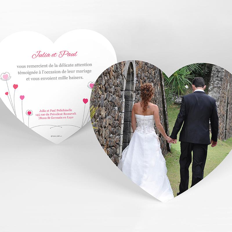 Carte de remerciement mariage Idylle rose