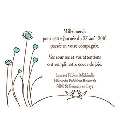 Carte de remerciement mariage Idylle chocolat pas cher
