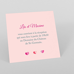 Carte d'invitation mariage Pétales rose