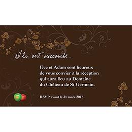 Carte d'invitation mariage Tentation  pas cher