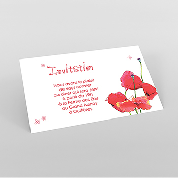 Carte d'invitation mariage Coquelicots