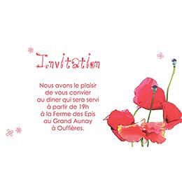 Carte d'invitation mariage Coquelicots  pas cher