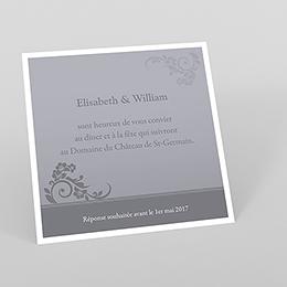 Carte d'invitation mariage Cérémonie gris
