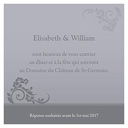 Carte d'invitation mariage Cérémonie gris pas cher