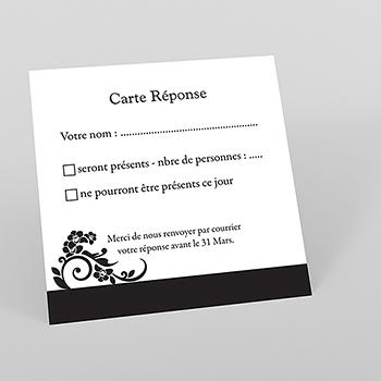 Carton réponse mariage Cérémonie noir