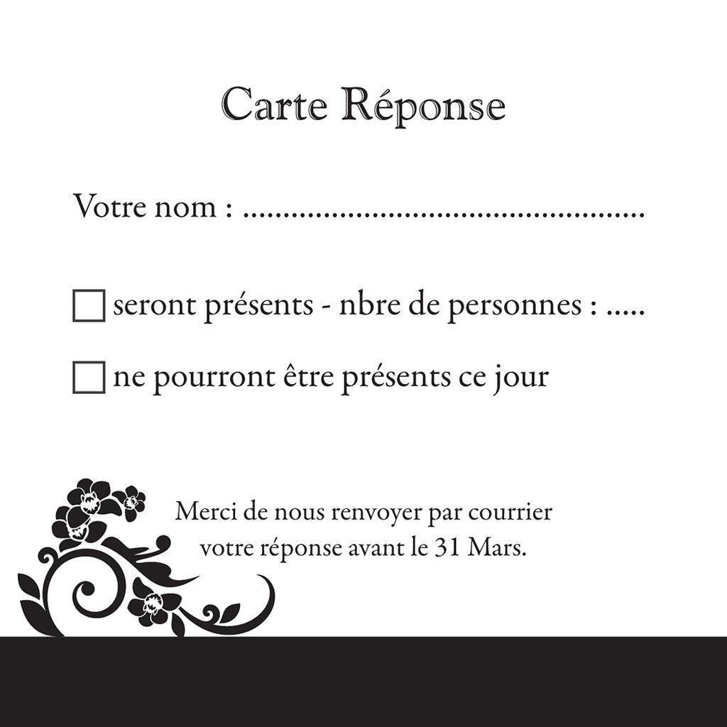 Carton réponse mariage Cérémonie noir pas cher