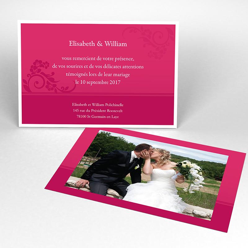 Carte de remerciement mariage Cérémonie rose