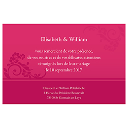 Carte de remerciement mariage Cérémonie rose pas cher