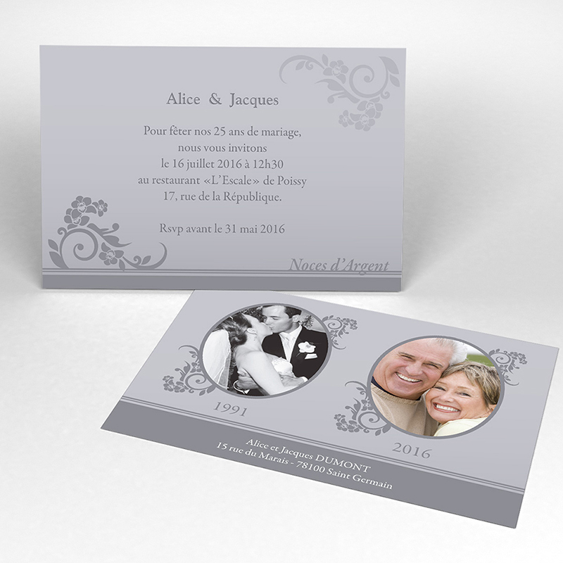 Carte anniversaire de mariage Cérémonie gris