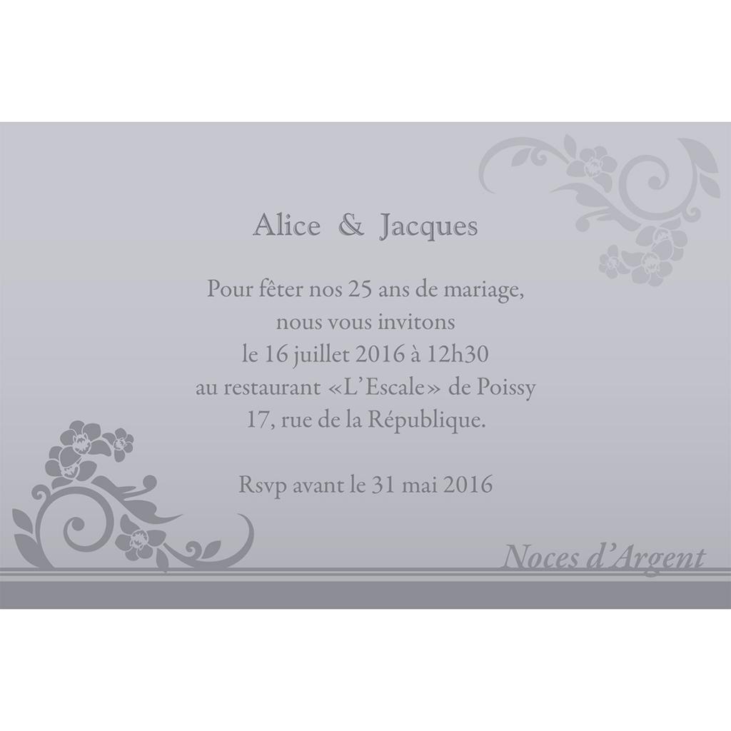 Carte anniversaire de mariage Cérémonie gris pas cher