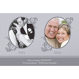 Carte anniversaire de mariage Cérémonie gris gratuit