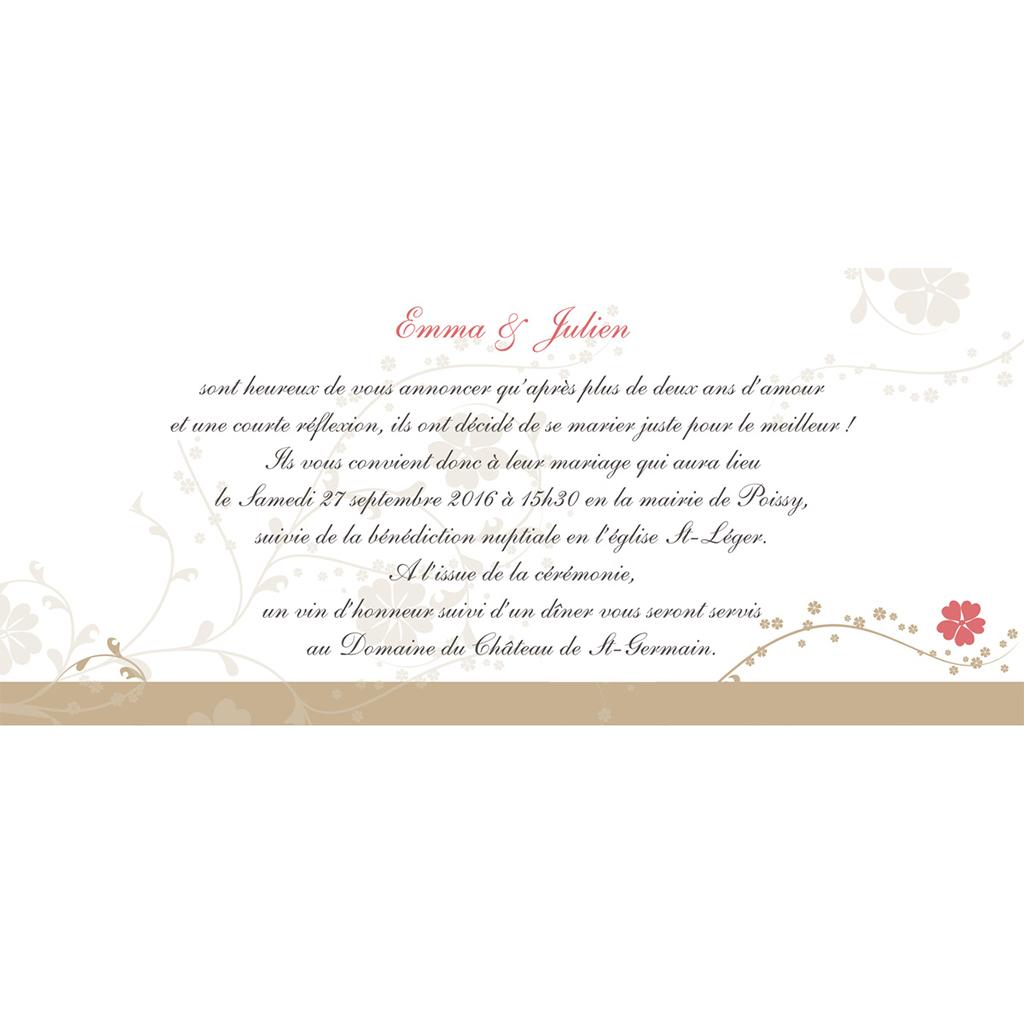 Faire-part de mariage Nuptial doré