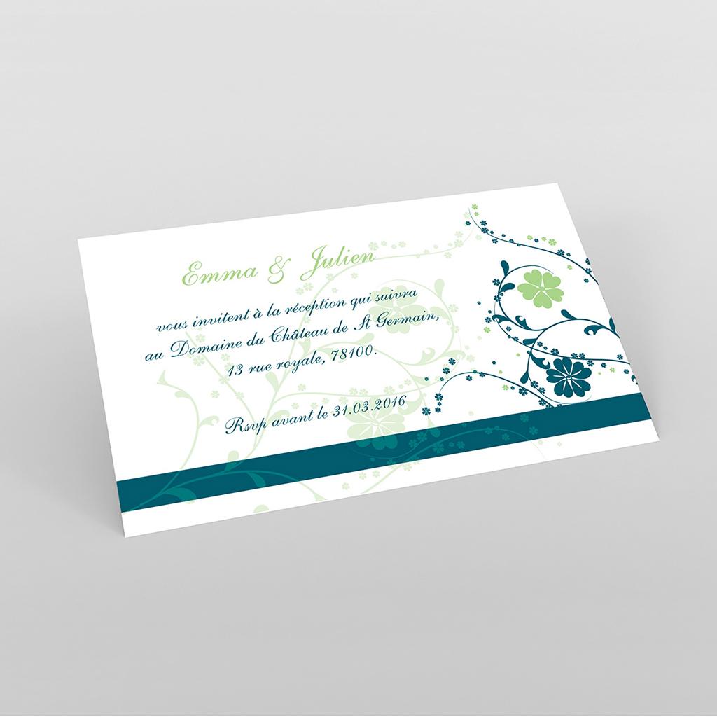 Carte d'invitation mariage Nuptial bleu