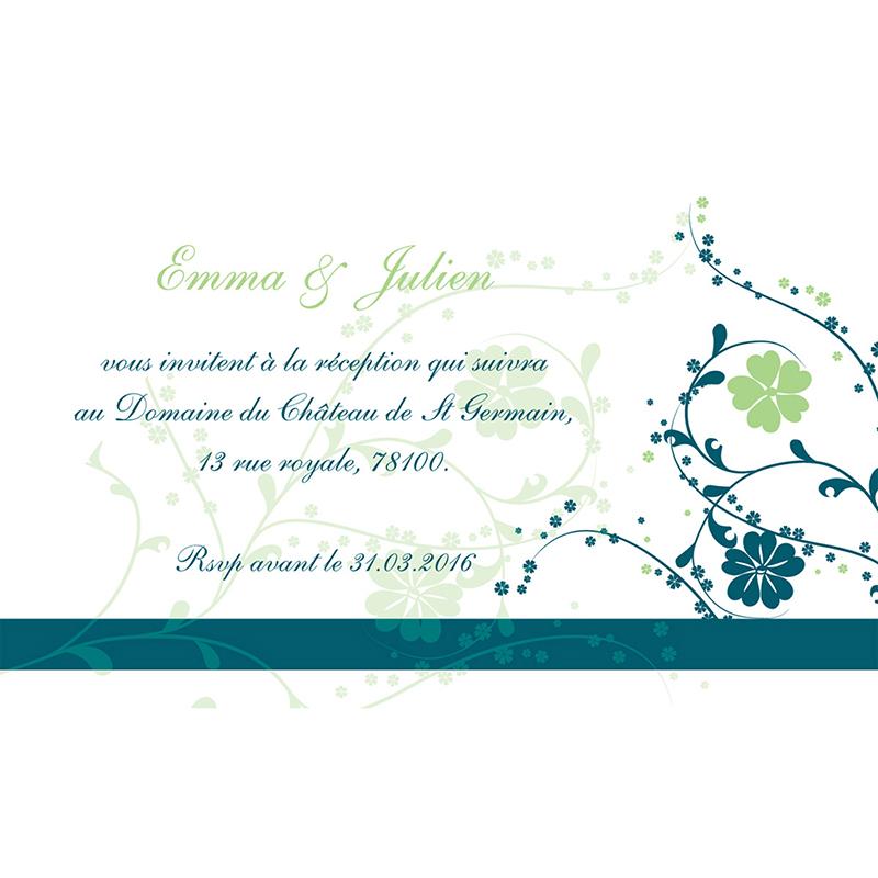 Carte d'invitation mariage Nuptial bleu pas cher