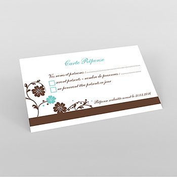 Carton réponse mariage Nuptial chocolat turquoise