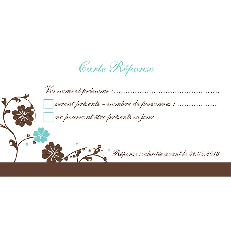 Carton réponse mariage Nuptial chocolat turquoise pas cher