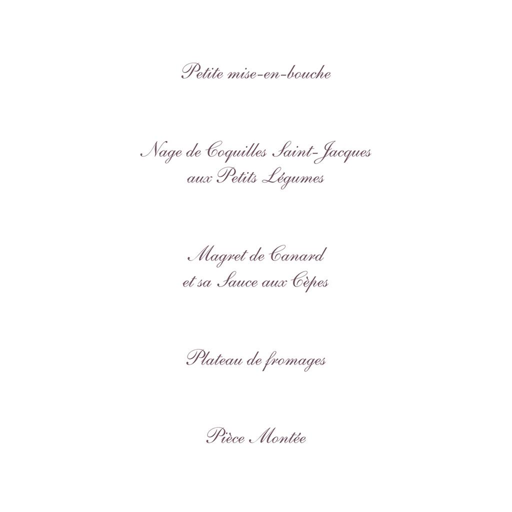 Menu mariage Nuptial gris rose