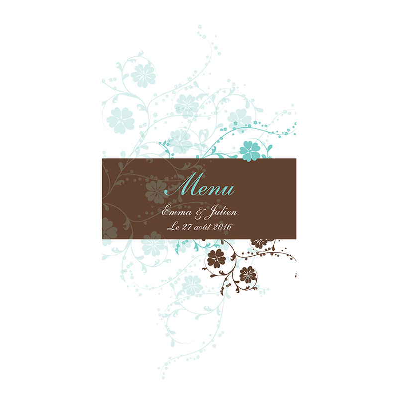 Menu mariage Nuptial chocolat turquoise pas cher