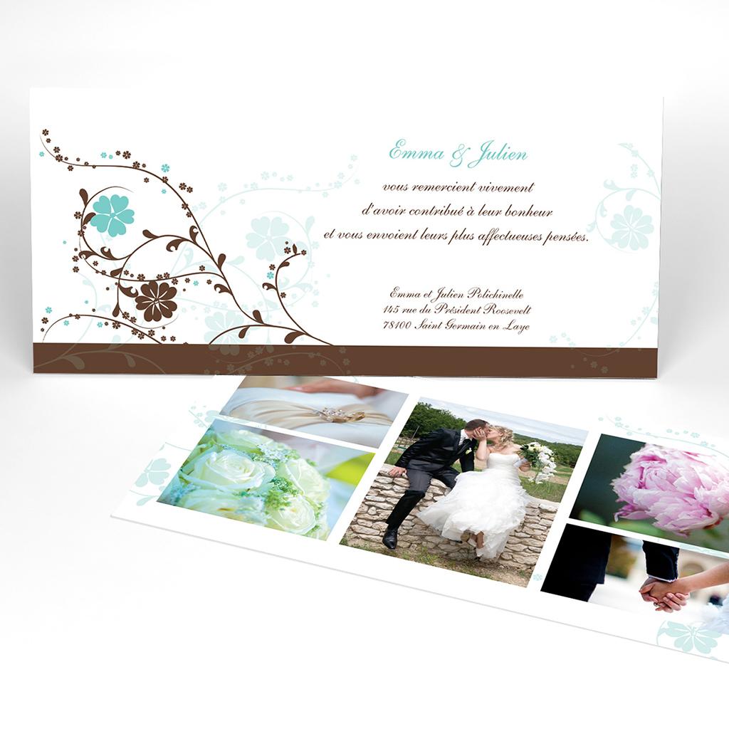 Carte de remerciement mariage Nuptial chocolat turquoise