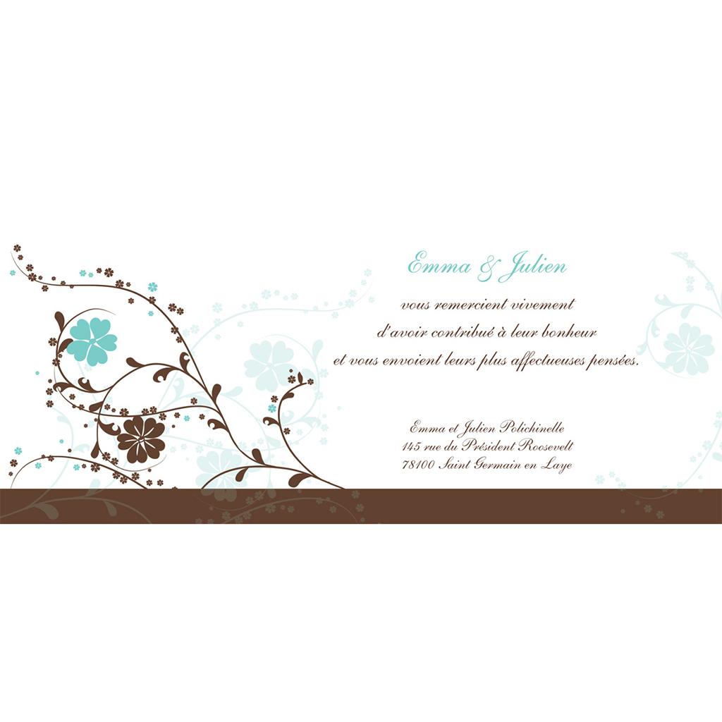 Carte de remerciement mariage Nuptial chocolat turquoise pas cher