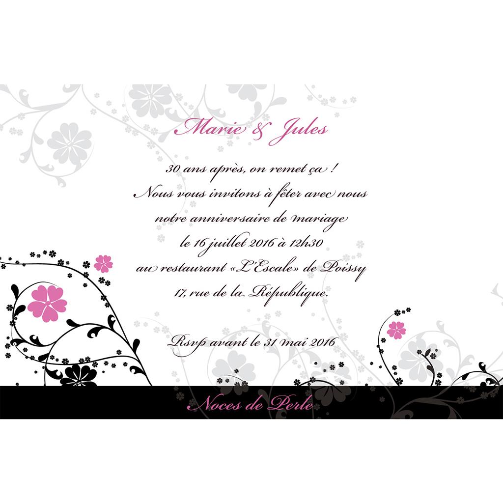 Carte anniversaire de mariage Nuptial noir pas cher