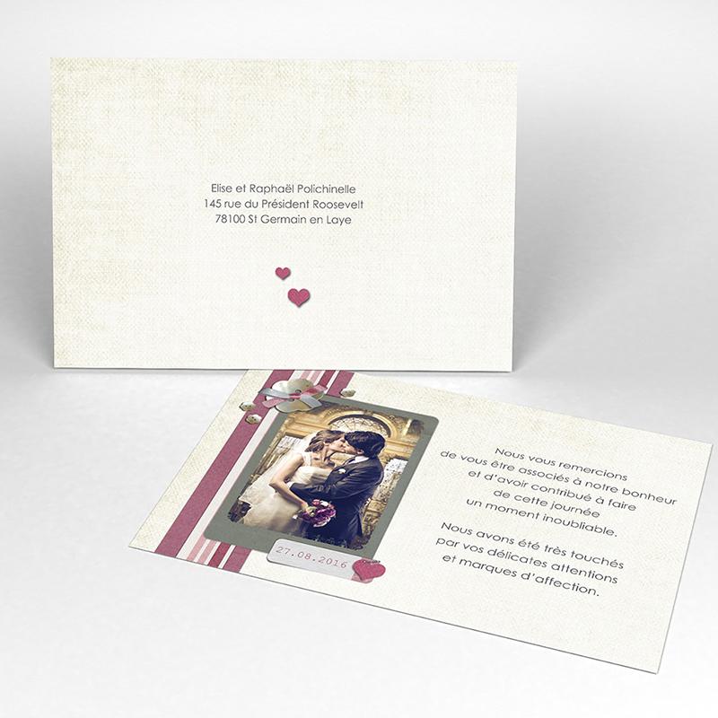 Carte de remerciement mariage Scrap'rose